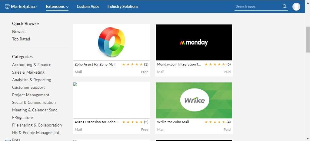 Extensions in Zoho Mail