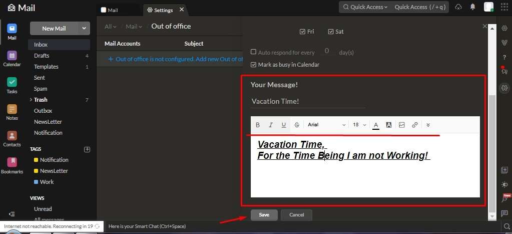 Office Message in Zoho Mail